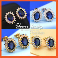 18K GOLD GF BLUE SAPPHIRE LAB DIAMOND SOLID WOMENS GIRLS PRINCESS STUD EARRINGS