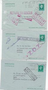 1976 x 3 NETHERLANDS AEROGRAMMES RETURNED FROM JAPAN PARAGUAY & VIETNAM