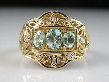 14K Paraiba Tourmaline Diamond Ring Yellow Gold Vintage Style Generations 1912