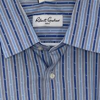 Robert Graham Mens Shirt Designer LS Blue Flip Cuff Large