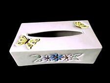 "Vintage Kleenex Tissue Box Cover butterflies Ceramic butterfly flowers10""x5.25"" ;"