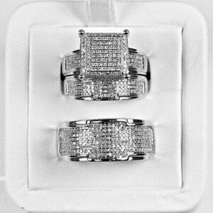 14K White Gold Over Diamond Wedding Trio His And Her Bridal Engagement Ring Set