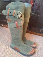 Earth green suede boots