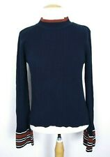 Moth Anthropologie Women's Navy Blue/Brown Bell Sleeve Mock Neck Sweater Size L