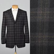 40L Zegna Z Charcoal Black Plaid Wool Jacket Three Button Front Double Vent VTG