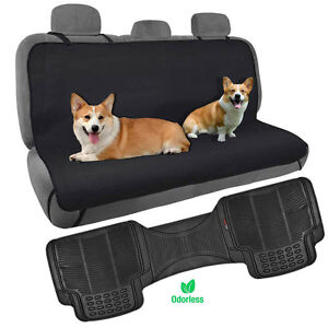 Dog Car Seat Cover Rear Bench Hammock w/ Odorless Car Floor Mat NonToxic