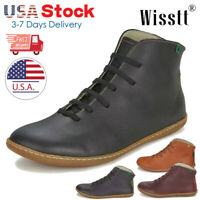 Women's Ankle Boots Leather Flat Heel Booties Lace Up Comfort Casual Shoes Hot