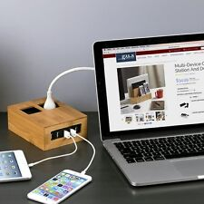 G.U.S. Eco-Friendly Bamboo Power Hub Charging Station, USB+AC Power Supply