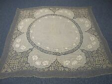 "Antique Silk Tablecloth with Hand Embroidered Flowers & Net Lace 64"" Square"