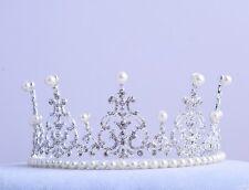 Luxury wedding Tiara Bridal Crown Pearls Crystal  Rhinestone Party Hairpiece