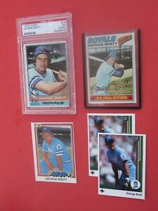 LOT (4) George Brett 1976 Topps #19 PSA 5 (MC),1977 Topps #580,1981 Donruss #491