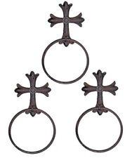 Cast Iron Gothic Cross Towel Hook Holder Ring Hanger 3 Piece Set Rustic Brown
