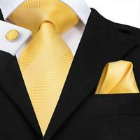 e9661f71ffc9 USA Yellow Striped Mens Tie Silk Necktie Set New Hanky Cufflinks Wedding  Woven