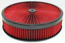 "14"" X 3"" Black Round Red High Flow Thru Washable Air Cleaner Drop Base 350 SBC"