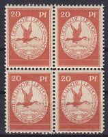 DR Mi Nr. II ** 4er Block PF IV Plattenfehler, Flugpost 1912, postfrisch, MNH