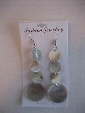 Women's Fashion Jewelry Natural Sea Shell Dangle Round Earrings 3 inch Length NW