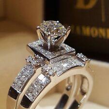 Chic Women White Sapphire 925 Silver Ring Set Wedding Bridal Jewelry Gift Sz5-11