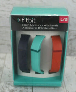 Fitbit Flex Vibrant Accessory Wristbands 3 Pack Navy/Teal/Tangerine Large NEW
