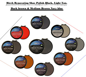 Birch Renovating Shoe Polish Black, Light Tan, Dark brown, Medium Brown,Navy blu