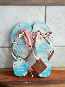 Havaianas - Slim Cherry Blossom Flip Flops- Sky Blue- Women's Size 7/8- NWT