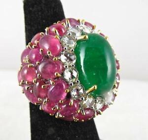 Exclusive 36.41ctw Emerald Ruby Cabochon Rose Cut Gemstone Women Ring 925 Silver