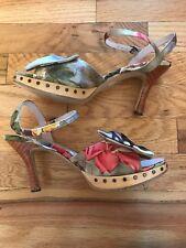 Open Toe Floral Heels Rebecca Taylor Shoes Women's   Size 7