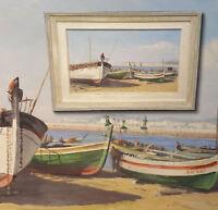 Boote am Strand von SITGES Spanien nähe Barcelona. Wundervolles altes Ölgemälde