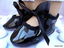 "BLACK Patent Leather DOLL TAP DANCE SHOES fits 18"" AMERICAN GIRL Doll Clothes"