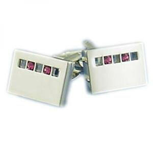 Silver Rectangle Line SAPPHIRE Stones Crystals CUFFLINKS Formal Present Gift Box