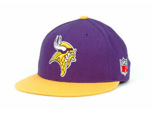 Minnesota Vikings Mitchell and Ness 2 Tone Purple Yellow NFL Fitted Hat Cap 7 MN
