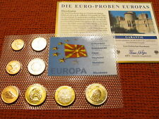 The Euro Samples of Europe RARE MAZEDONIEN 2008 Set of Coins 1 Cent to 2 Euros