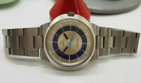 USED VINTAGE OMEGA GENEVE DYNAMIC TWOTONE BLUE DIAL DAYDATE MANUAL WIND WATCH