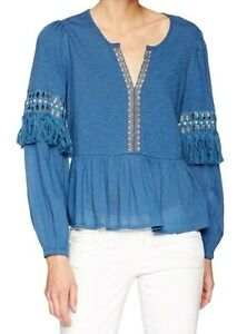 Lucky Brand Womens Cutout Lace Woven Peasant Top Blouse XS Blue