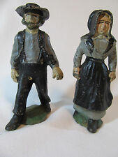 VTG CAST IRON AMISH MAN & WOMAN FIGURINES - PA