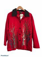 Bala Bala Women's Red Long Sleeve 100% Silk Button Up Embroidered Jacket Medium