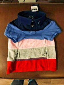 Polo Ralph Lauren L  Knit  Blue/Pink/Red  Block Sm Pony Large Dog Sweater NWT