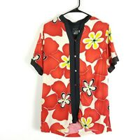 Jams World Womens Sz S Shirt Red Star Floral Print Rayon Hawaiian Short Sleeve