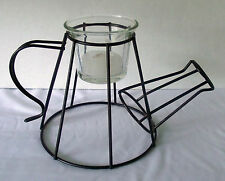 Watering Can Candle Holder Black Wire Metal Glass Votive Decor Sculpture Shape