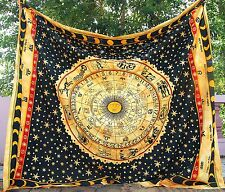 Zodiac Hippie Gypsy Bed Throw Queen Boho Indian Astrology Gift Antque Coverlet