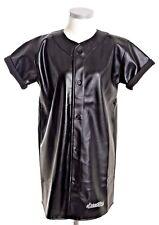 SCARCEWEAR GIRLS BLACK LEATHER BASEBALL DRESS SHIRT JERSEY BUTTON UP SIZES 8-14