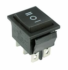 (On)Off(On) Momentary Large Black Rectangle Rocker Switch 6-Pin DPDT 12V