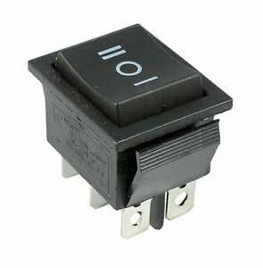 (On)Off(On) Momentary Large Black Rectangle Rocker Switch 6-Pin DPDT 12V