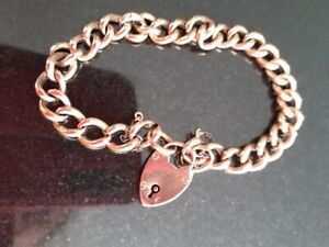 9ct Rose Gold Ladies Curb Chain Bracelet with Padlock 11.8g