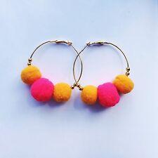 NEON Rosa Arancione Pom Pom CERCHI ARANCIO BRILLANTE PON PON Orecchini a cerchio anelli d'oro