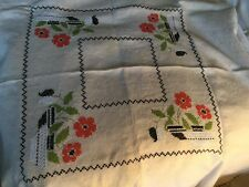 "Small 32"" Hand Embroidered Square Linen Tablecloth White w/ Pink Flowers"