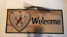 Heart CARDINAL WELCOME sign country kitchen bird wall home decor wooden  5x12