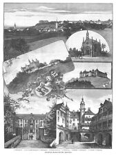 Hohenlohe, Schillingsfürst, Langenburg, Waldenburg, Sammelblatt, Holzstich 1895
