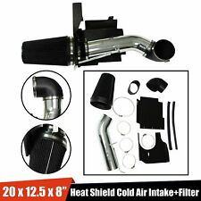 "4"" Black Heat Shield Cold Air Intake System+Filter Fit Gmc/Chevy V8 4.8/5.3/6.0L"