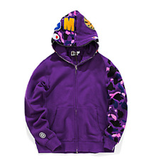 BAPE A BATHING APE Full Zip Hoodie Sweater Mens Shark Jaw Red Camo Jacket Coat