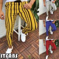 New Mens Skinny Slim Fit Stretch Denim Jeans Striped Pants Biker Jogger Trousers